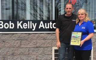 Ormaline Francis, owner and operator of Bob Kelly Automotive in Peterborough, was presented with her $1,000 prize by Jamie Thain, VP of Sales at Peterborough Automotive.