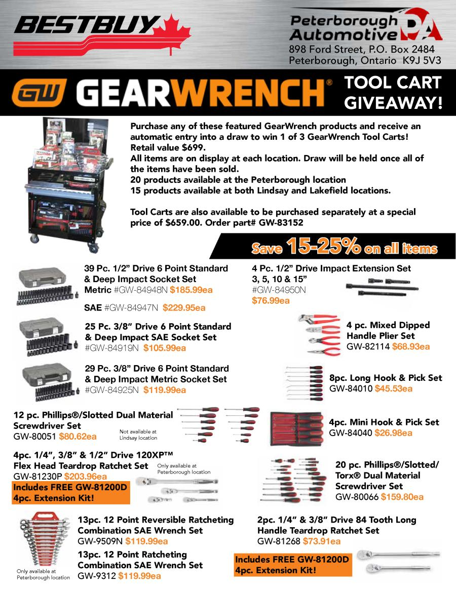 GearWrench Tool Cart Giveawayn